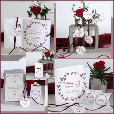 Hochzeits- und Taufkarten mit edlen roten Akzenten.