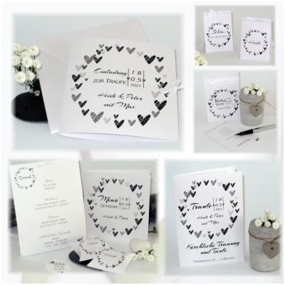 Kartenset für eine Hochzeit und Taufe im angesagten Schwarz-Weiß-Design.