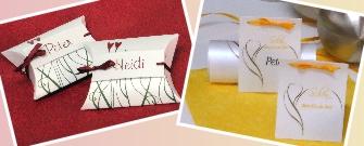 Personalisierte Gastgeschenke und ausgefallene Tischkarten für eine Hochzeit.
