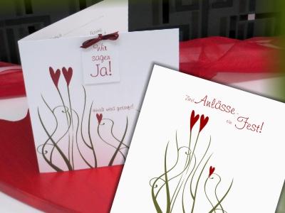 Einladungskarte zur Hochzeit mit Taufe in rot