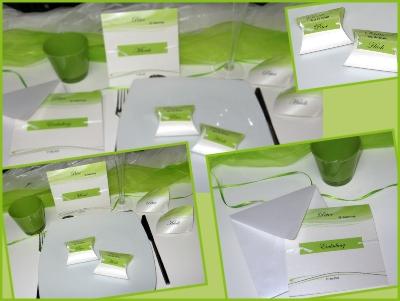 Einladungen zum Geburtstag mit passender Dekoration in grün
