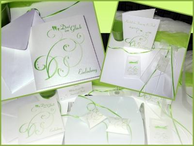 Grün-weißes Kartenset zur Hochzeit mit Taufe.