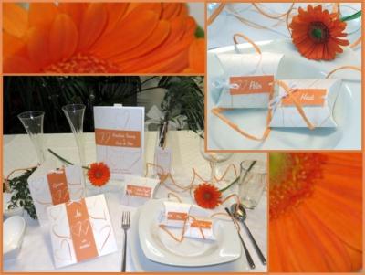Ausgefallene Gastgeschenke für eine moderne Hochzeit in orange.