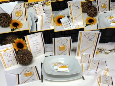 Karten für die Hochzeit mit Taufe in gelb und braun mit Sonnenblumendeko.
