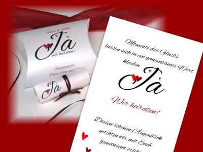 Moderne Hochzeitseinladung mit einem kreativ gestalteten Einladungstext.
