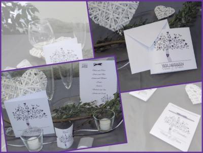 Besondere Hochzeitskarten in lila mit einem modernen Design aus Bäumen.
