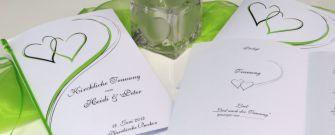 Alle Informationen zu unseren Kirchenheften, dem Liederheft zur Hochzeit, dem Cover und dem Innendruck.