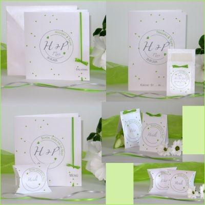 Grüne Herzchen verstreut wie buntes Konfetti - tolles Traufkartenset mit Charme