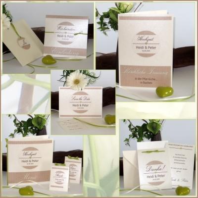 Herbstliche Hochzeitseinladung: Hochzeitspapeterie in warmen Farben mit besonderen Details.