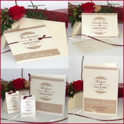 Hochzeitspapeterie mal anders. Modern und ausgefallen sind die Hochzeitskarten aus diesem Set.