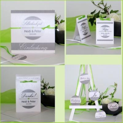 Ausgefallene Einladungen zur Silberhochzeit mit passender Dekoration