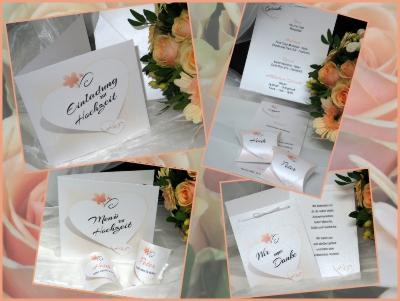 Edle und moderne Hochzeitskarten und Papeterie in apricot.