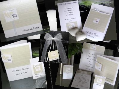 Hochzeitseinladungen und Papeterie mit klaren Linien.