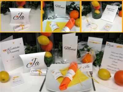 Moderne Hochzeitskarten mit einem frischen Design in gelb und orange.