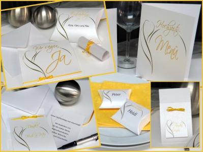 Komplette Hochzeitspapeterie für eine moderne Hochzeitsfeier in gelb.