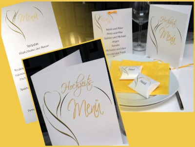 Modernes Hochzeitskartenset mit einer edlen Blüte in gelb.
