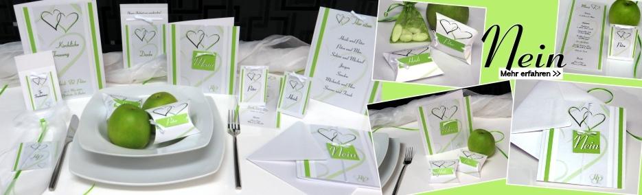 Ausgefallene Hochzeitspapeterie in hellgrün und weiß