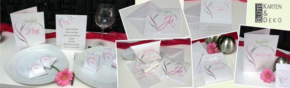 Ausgefallene Hochzeitskarten in pink und grün und die passende Dekoration.