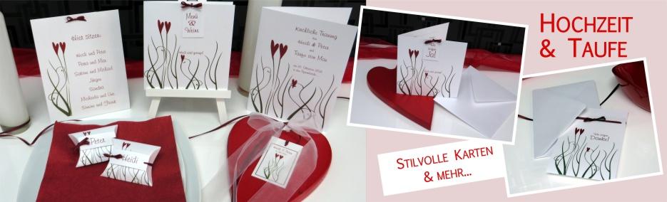 Einladungen für Ihre Hochzeit mit Taufe und die gesamte Papeterie in einem modernen Design mit 2 Herzen in rot.