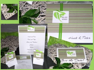 Designhochzeitskarten in grün und braun.