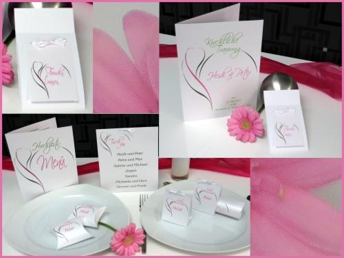 Moderne Hochzeitsdekoration in pink und grün.