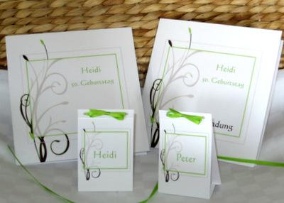 Geburtstagseinladungen, Menükarte und passende Tischkarten