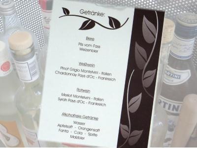 Getränkekarte für die Hochzeitsfeier