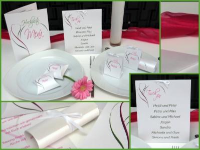 Tischkarten zur Hochzeit mit einem modernen Design in pink und grün.