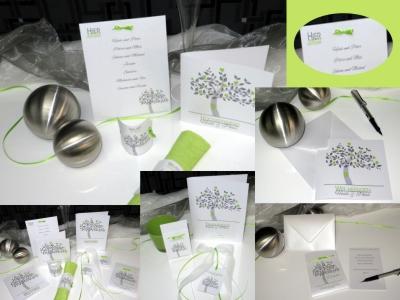 Ausgefallene Hochzeitskarten mit einem modernen Design in grau und grün.
