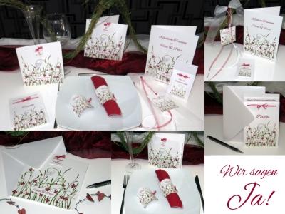 Moderne Hochzeitskarten und die passende Dekoration in rot und weiß