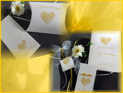 Hochzeitseinladung und mehr in gelb und tollem Herzmotiv