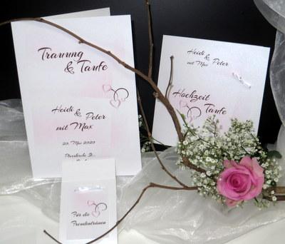 Kartenset für die Hochzeit und Taufe mit rosa und braunen Details.