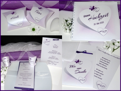 Hochzeitskarten mit einem besonders romantischen Design in lila und flieder.