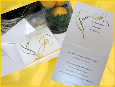 Textgestaltung einer gelben Hochzeitseinladung