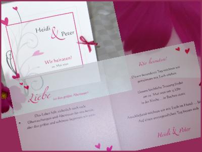 Individuell gestalteter Einladungstext einer modernen Hochzeitskarte in pink