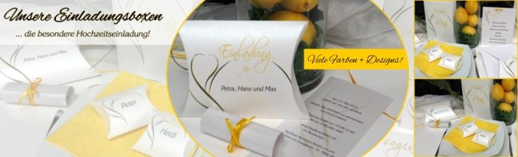 Besondere Hochzeitseinladung als Schriftrolle mit einer Box und passender Dekoration.