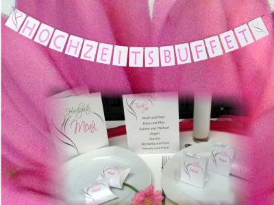 Edle Hochzeitsgirlande mit einem Motiv in pink und grün.