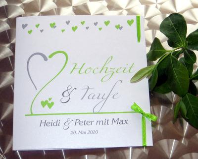 Einladungskarte für Ihre Hochzeit und Taufe in modernem Design.