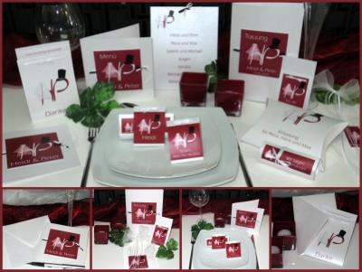 Besondere Hochzeitseinladungen und Deko mit einem Brautpaar und den Initialen des Brautpaares