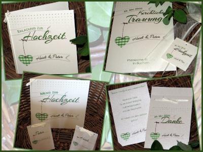 Hochzeitskarten in creme und grün mit einem Karoherz.