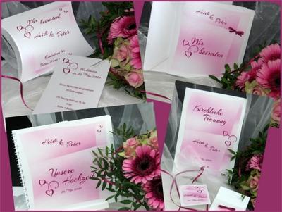 Hochzeitspapeterie mit einem besonderen Design in pink.