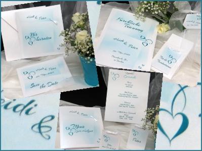 Extravagante Hochzeitspapeterie mit türkisen Details.