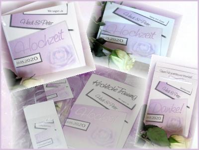 Hochzeitskarten in romantischem flieder