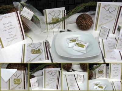 Extravagante Hochzeitskarten und Deko in braun und grün