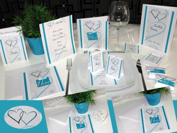 Hochzeitskarten in türkis und die passende Hochzeitspapeterie im gleichen Design.