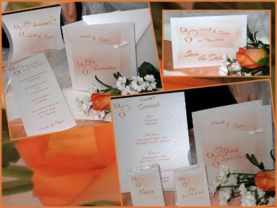 Besondere Hochzeitskarten mit einem Motiv in Orange.