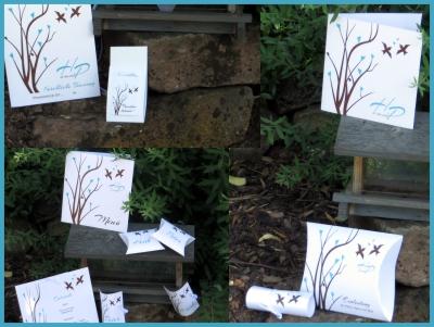 Hochzeitskarten mit Vögeln und türkisen Details.