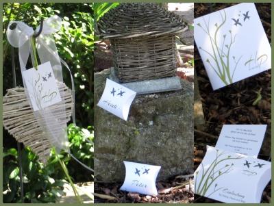 Hochzeitskarten mit kleinen romantischen Vögeln