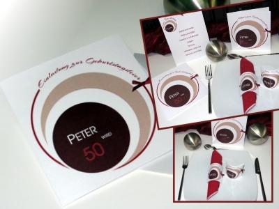 Ausgefallene Geburtstagseinladung mit passenden Menükarten und Tischkarten in braun und rot.