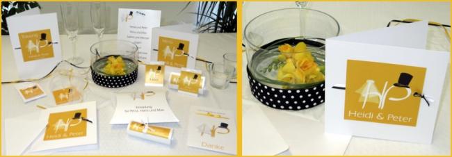Außergewöhnliche Hochzeitskarten mit einem modernen Design in gelb.